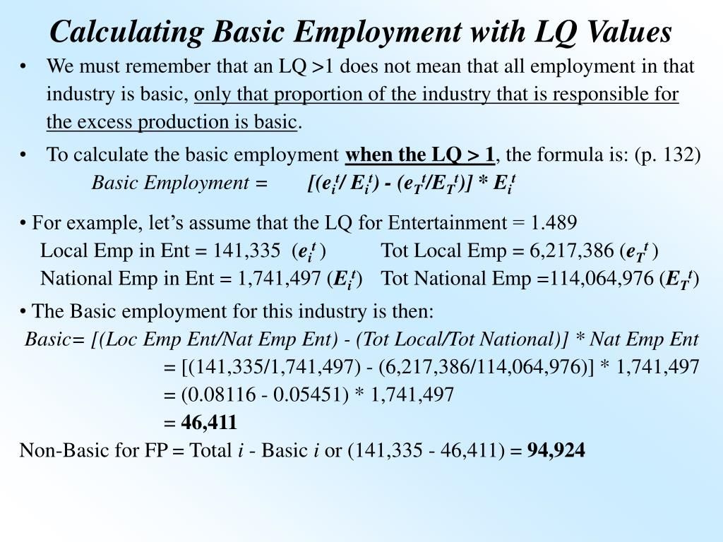 Calculating Basic Employment with LQ Values