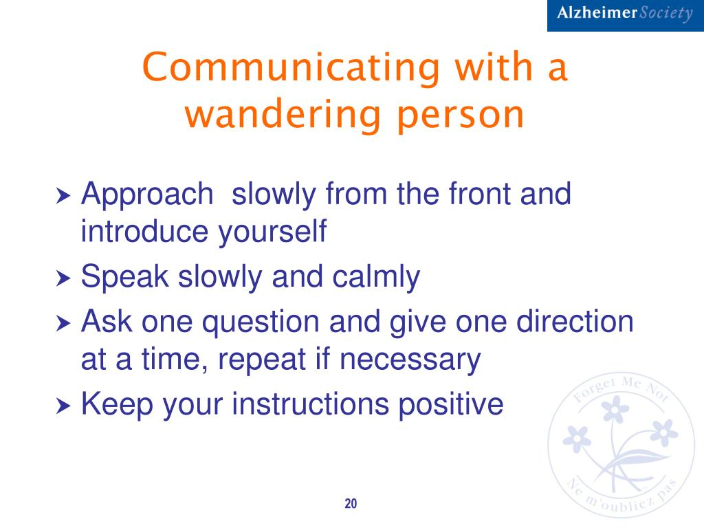 Communicating with a wandering person