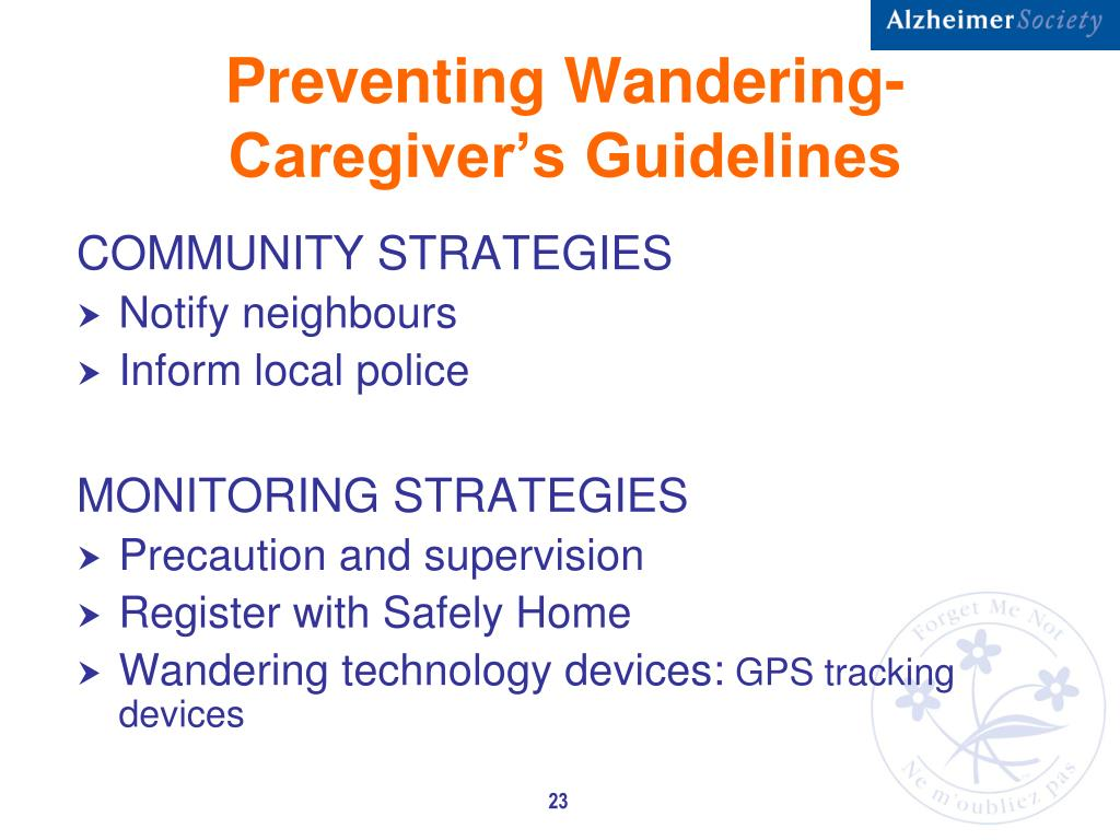 Preventing Wandering-Caregiver's Guidelines