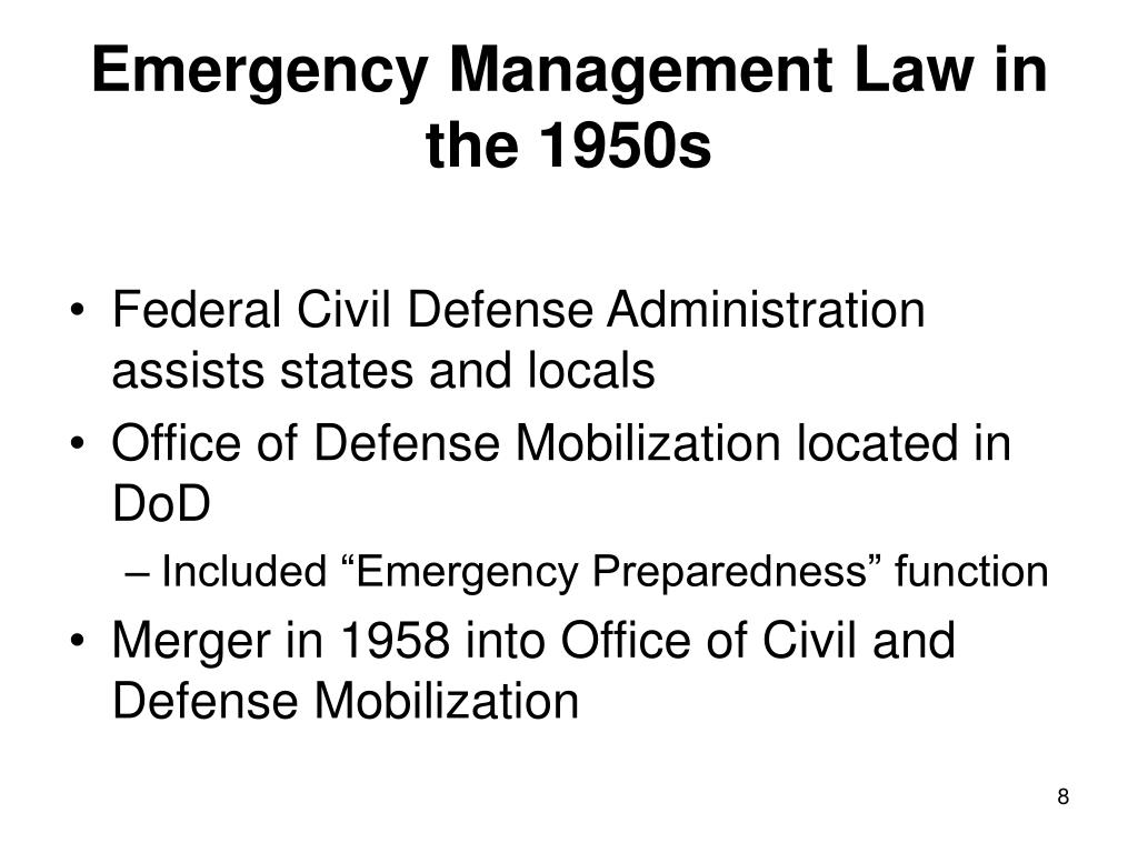 Emergency Management Law in the 1950s