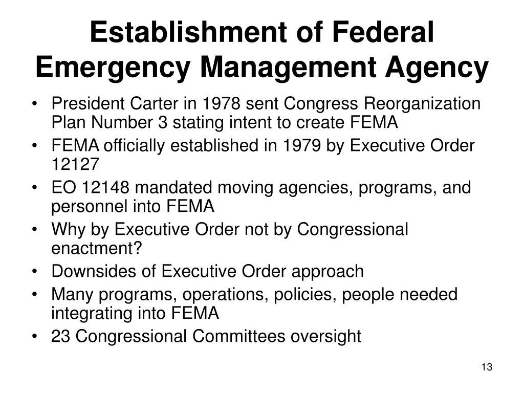 Establishment of Federal Emergency Management Agency