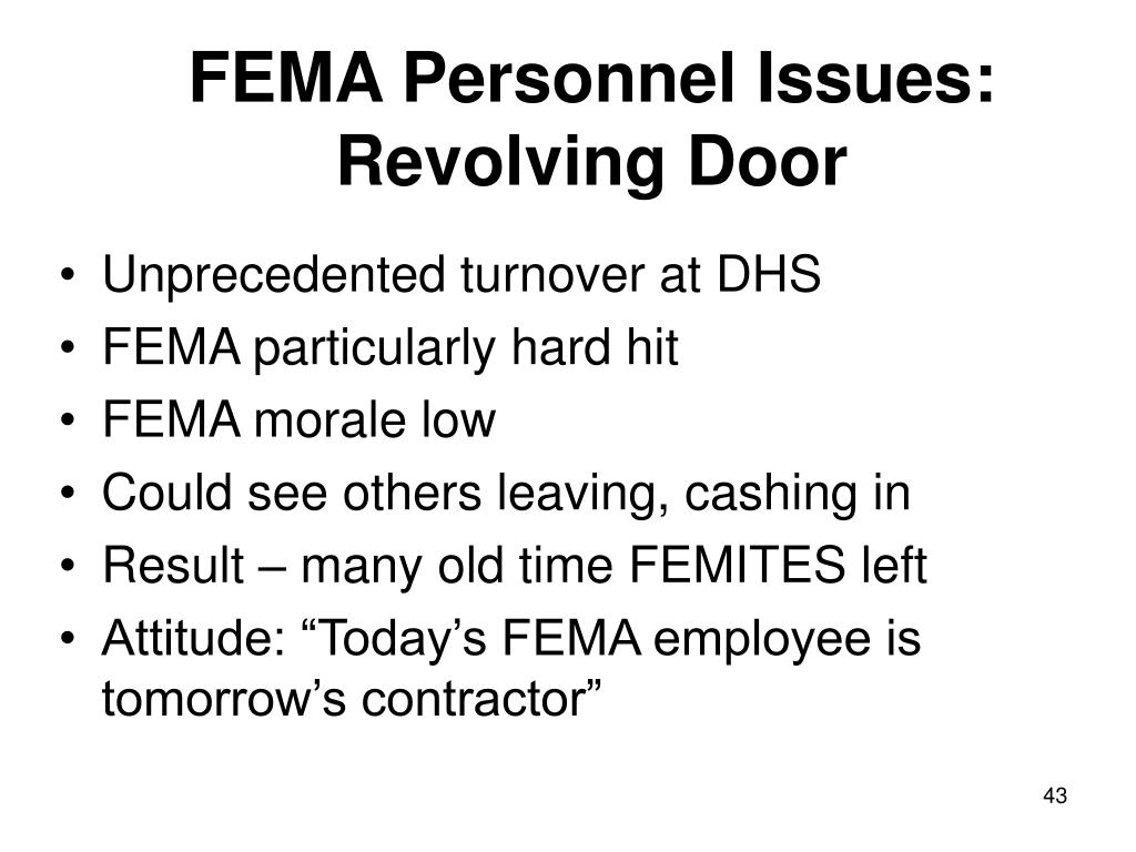 FEMA Personnel Issues:
