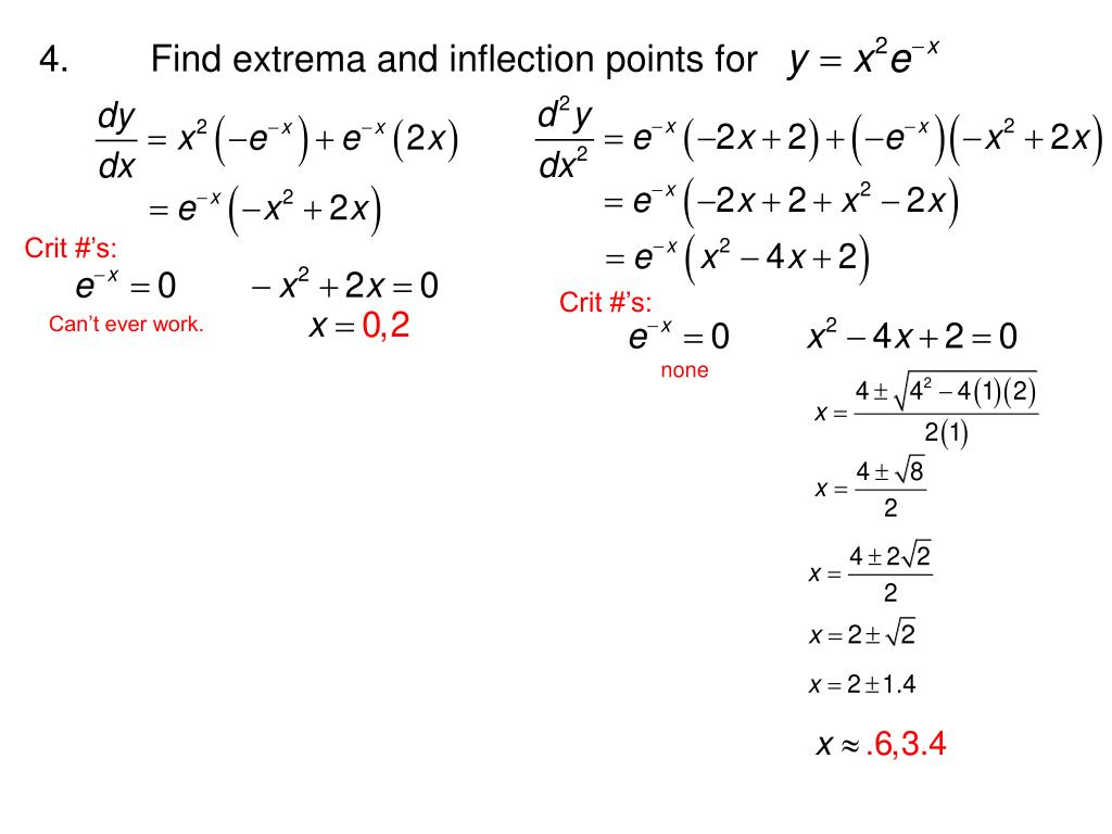 4.	Find extrema and inflection points for