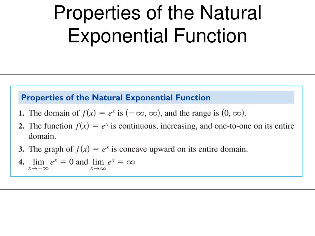 Properties of the Natural Exponential Function