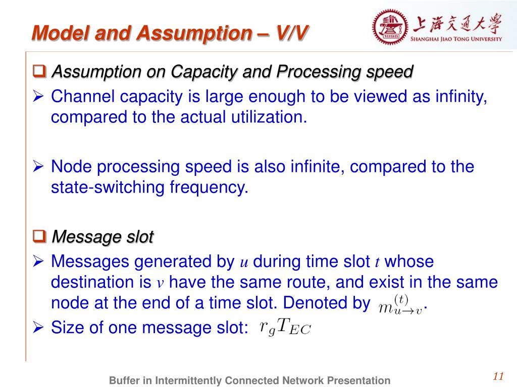 Model and Assumption – V/V