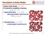 percolation of active nodes