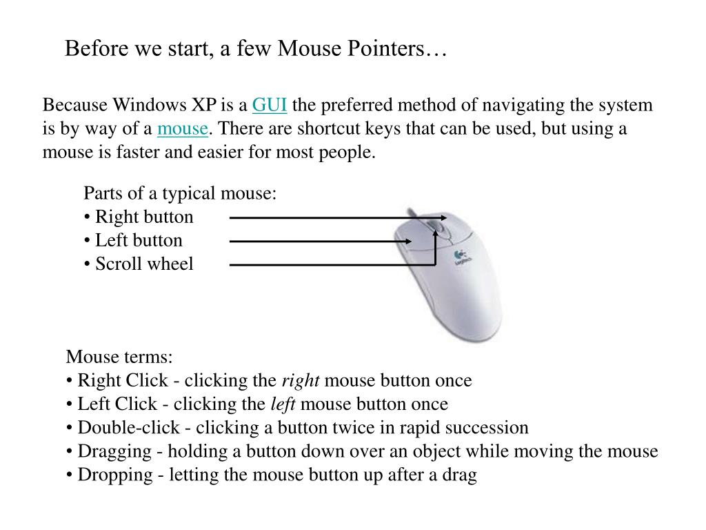 Before we start, a few Mouse Pointers…