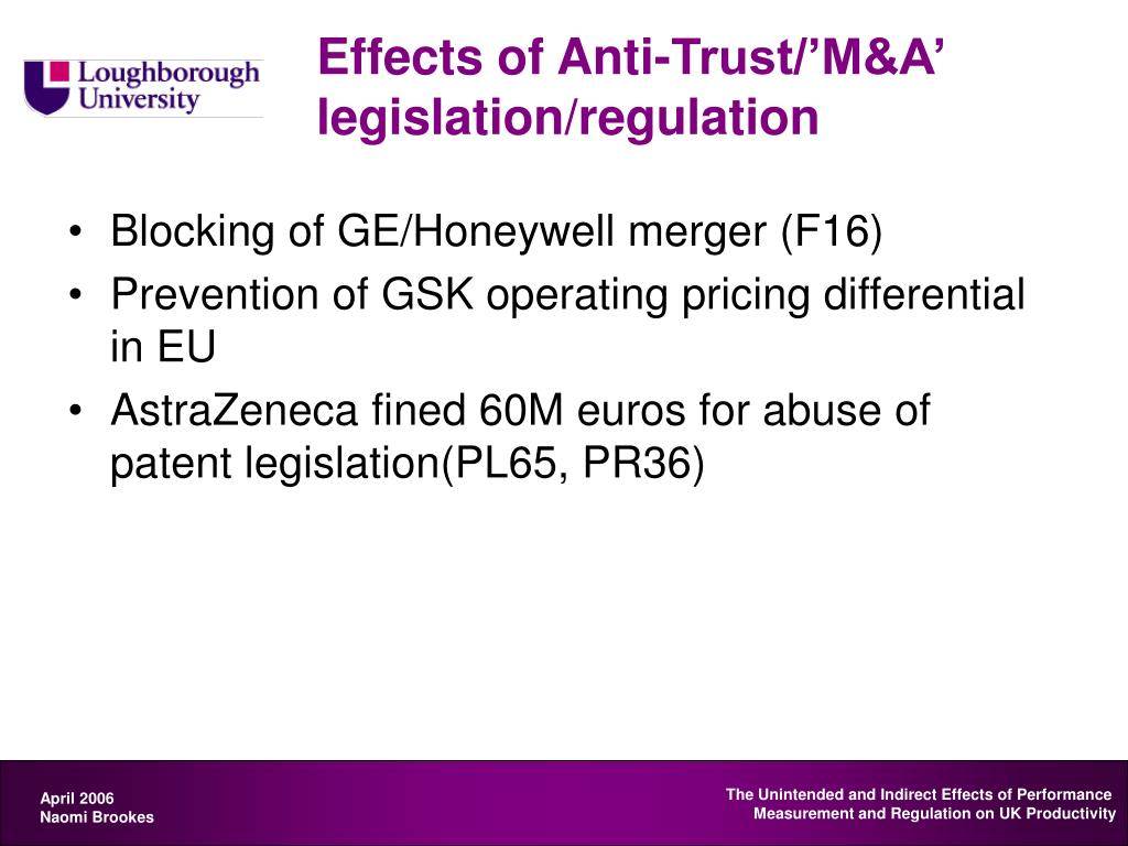 Effects of Anti-Trust/'M&A' legislation/regulation
