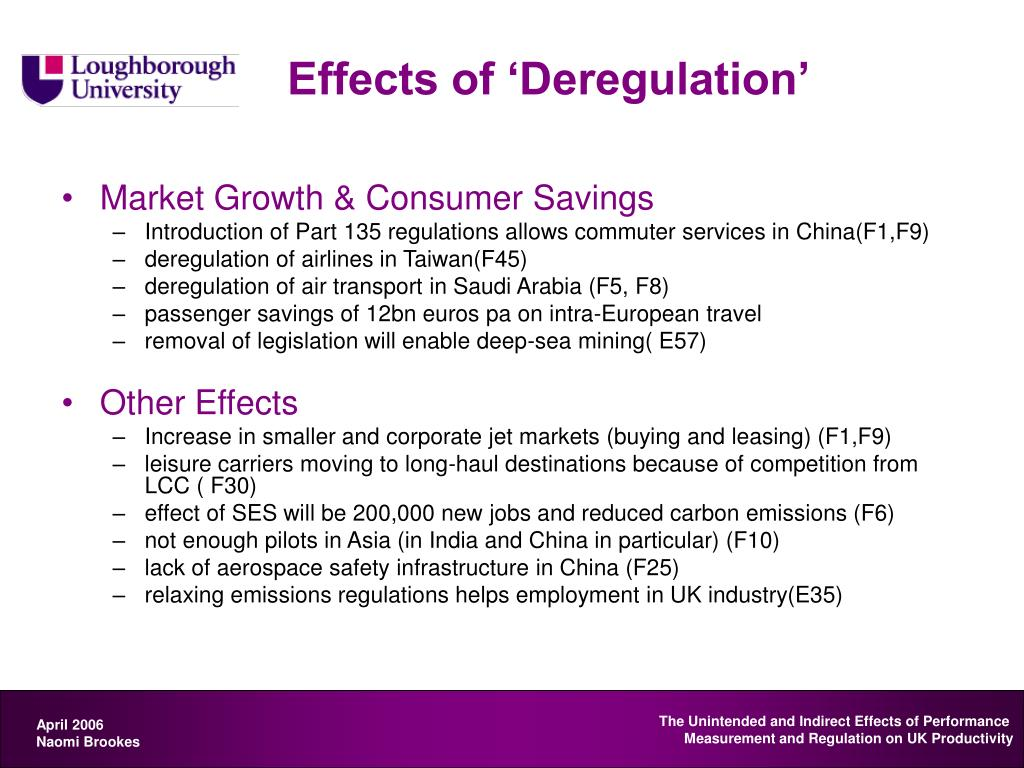 Effects of 'Deregulation'