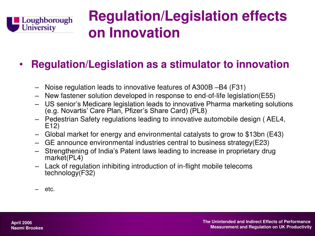 Regulation/Legislation effects on Innovation