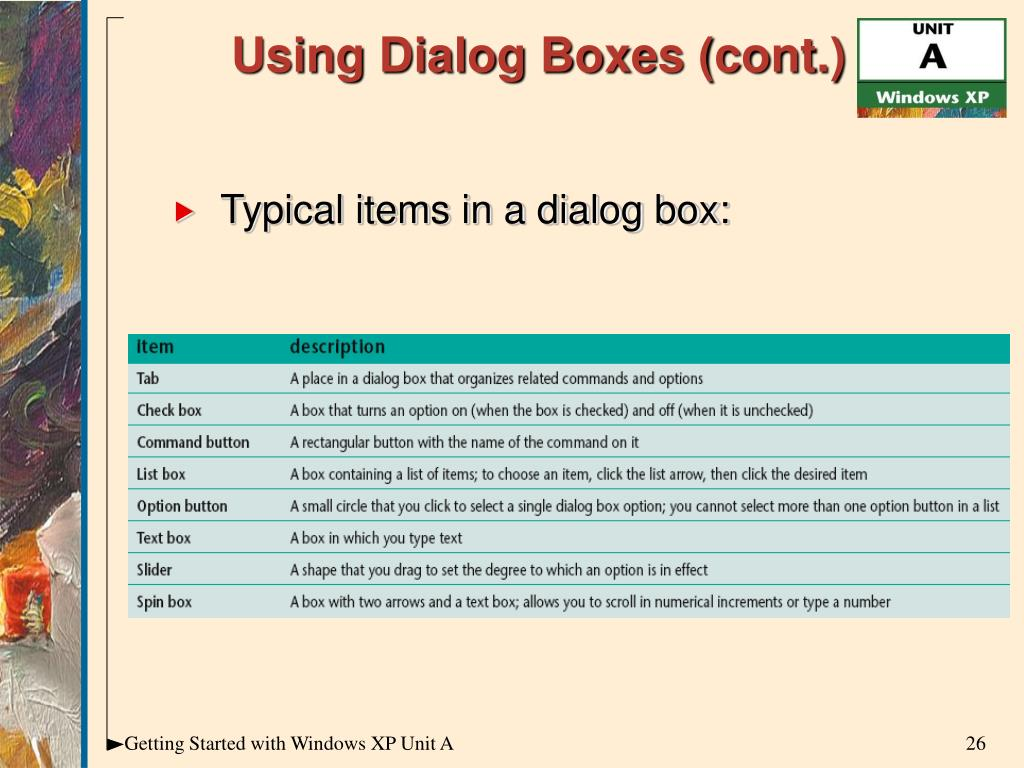 Using Dialog Boxes (cont.)