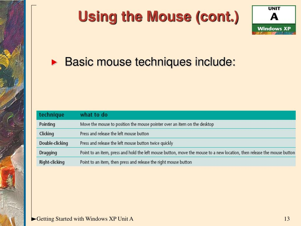 Using the Mouse (cont.)