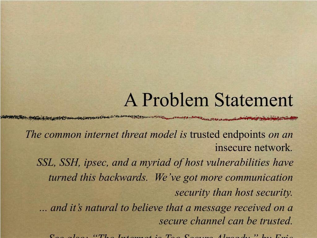 A Problem Statement