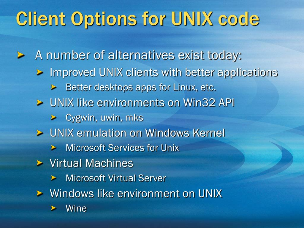 Client Options for UNIX code