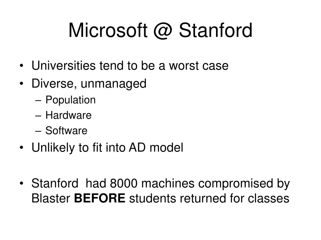 Microsoft @ Stanford