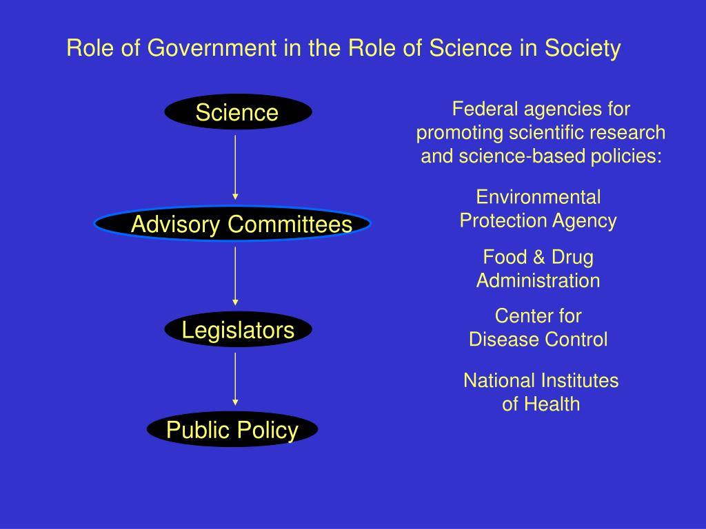 Role of Government in the Role of Science in Society