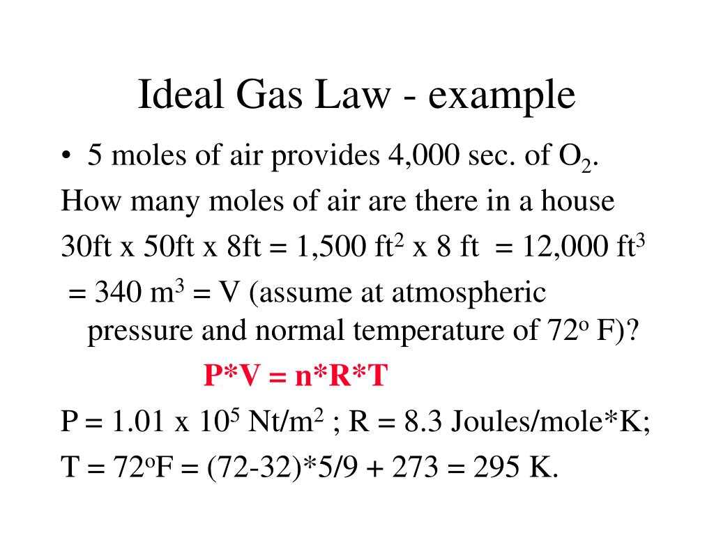 Ideal Gas Law - example