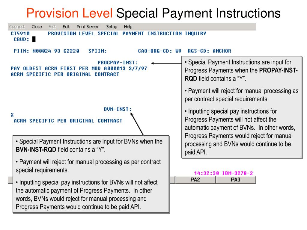 Special Payment Instructions are input for Progress Payments when the