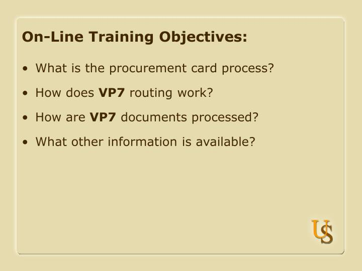 On line training objectives