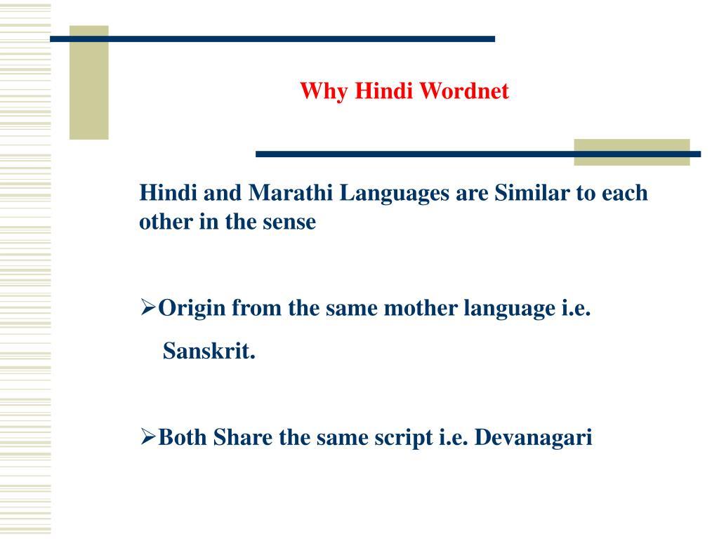 Why Hindi Wordnet