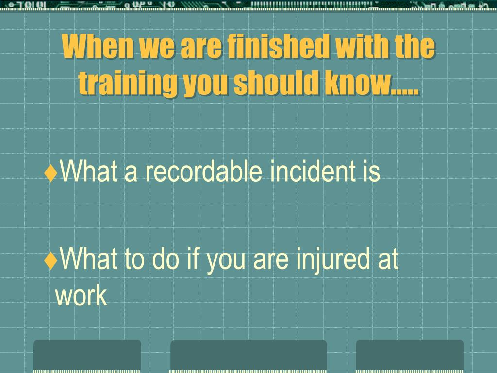 When we are finished with the training you should know…..