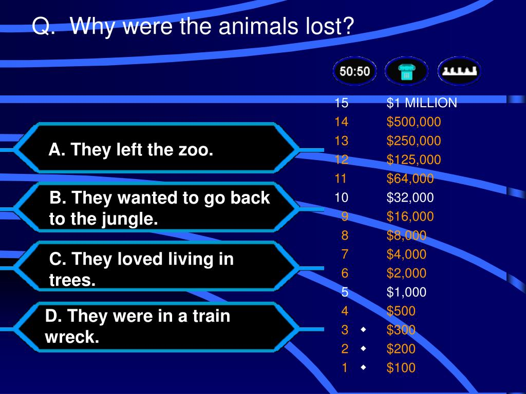 Q.  Why were the animals lost?
