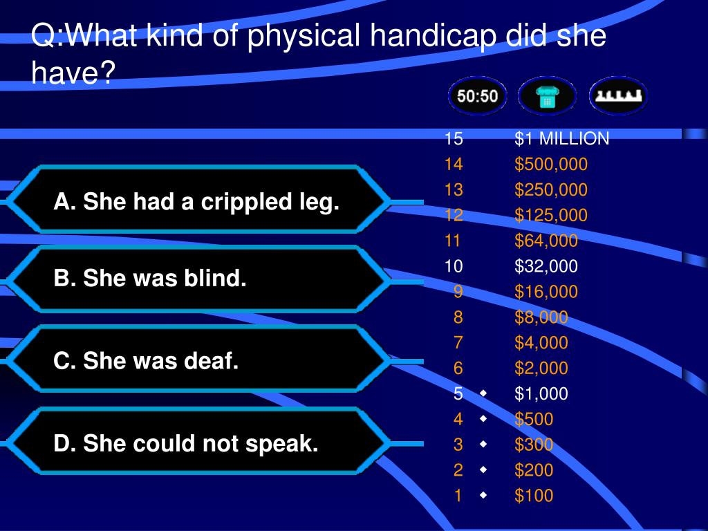 Q:What kind of physical handicap did she have?
