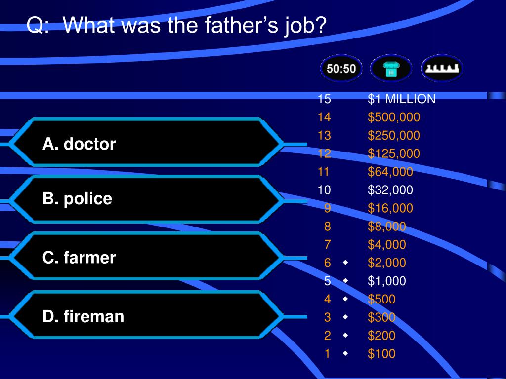 Q:  What was the father's job?