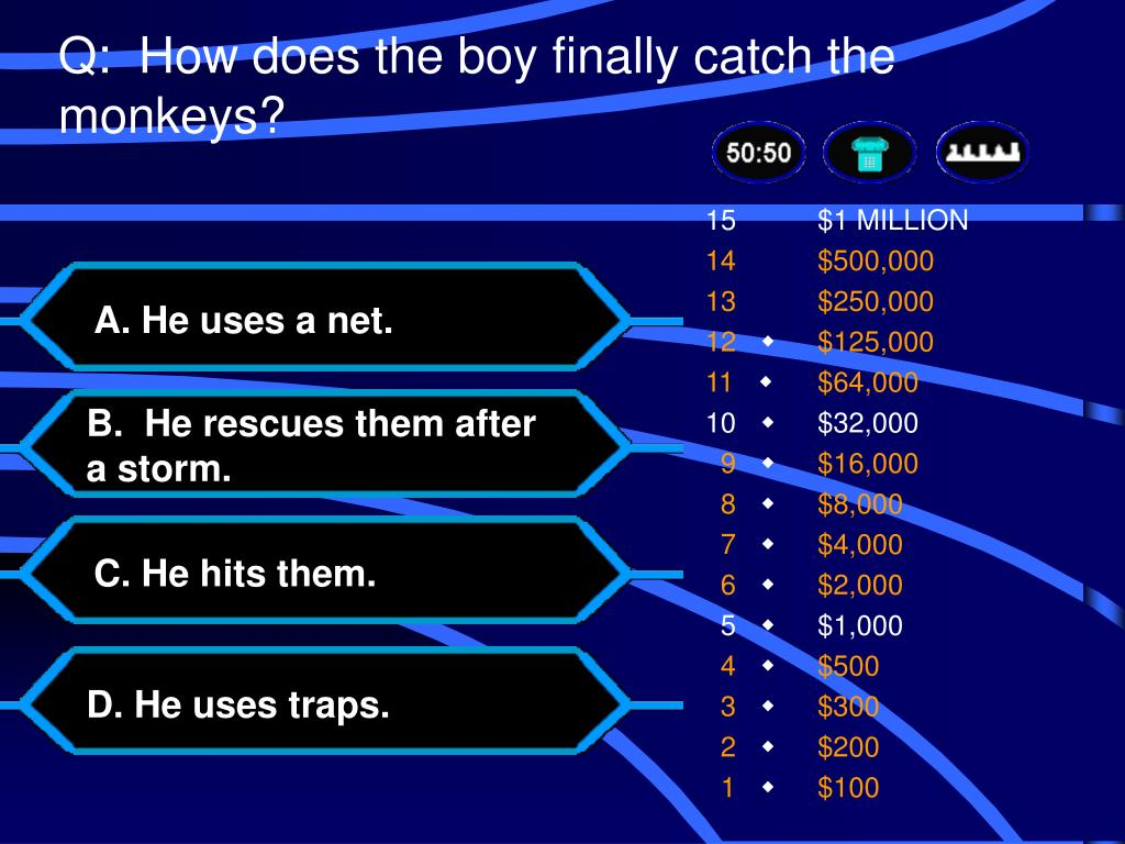 Q:  How does the boy finally catch the monkeys?