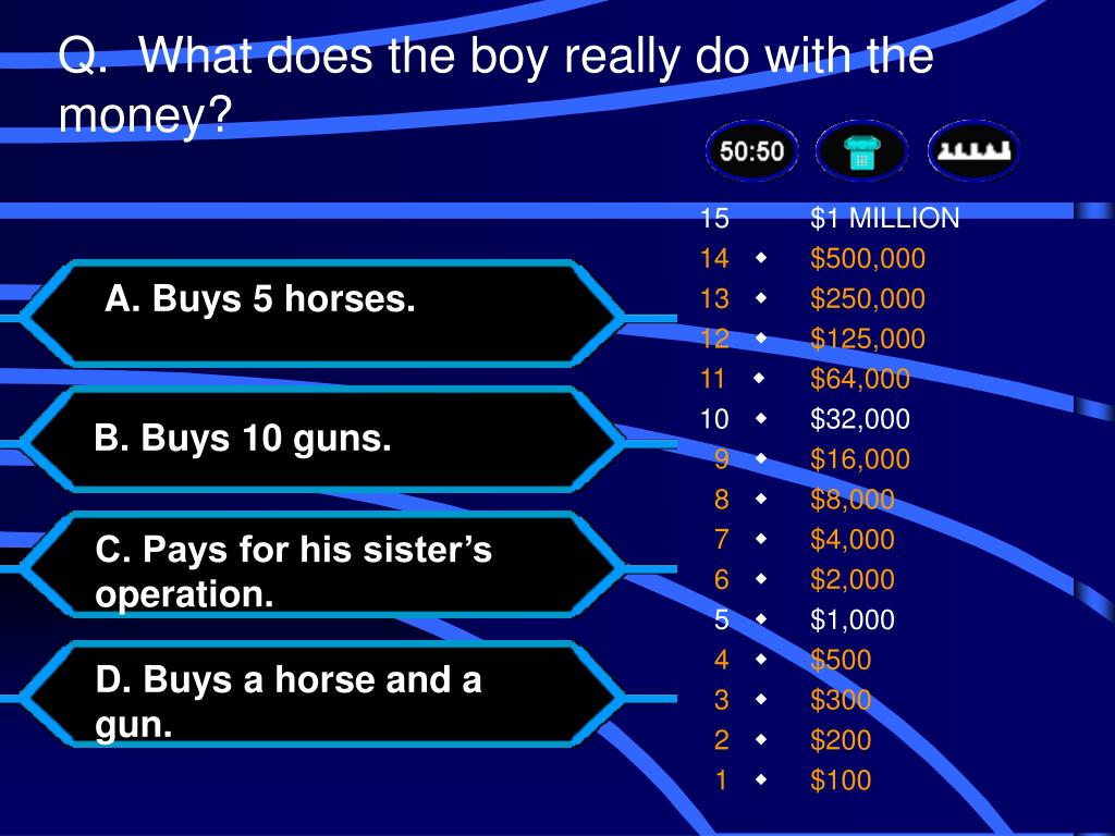 Q.  What does the boy really do with the money?