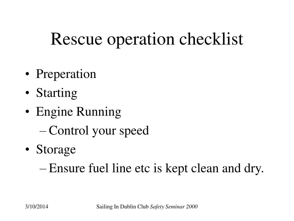 Rescue operation checklist