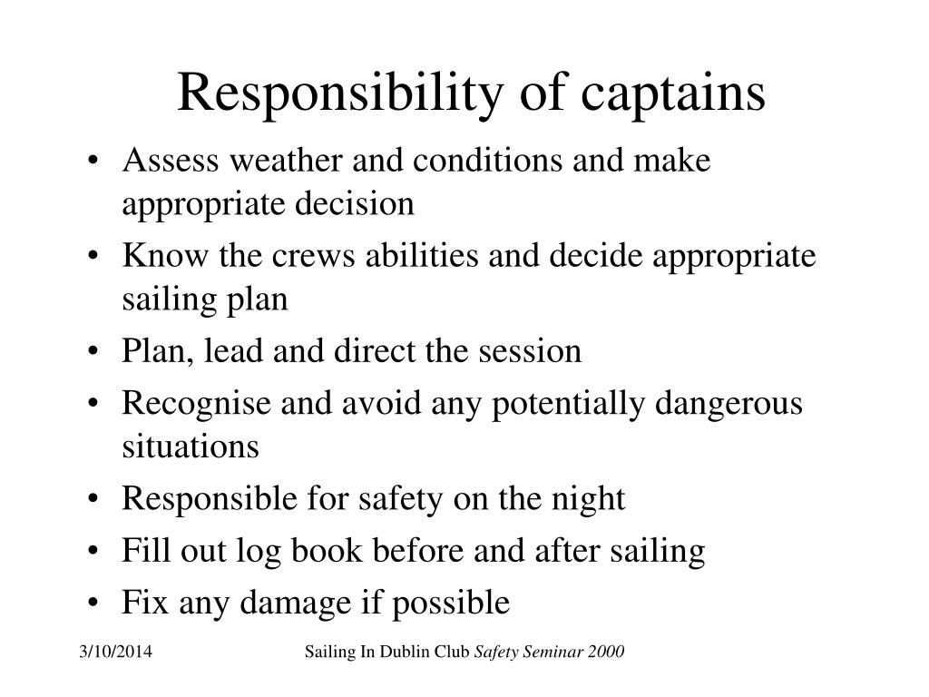 Responsibility of captains