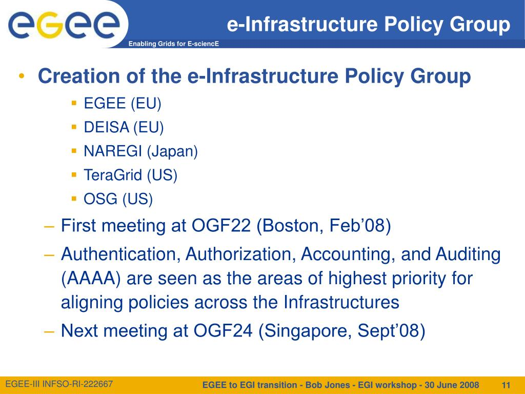 e-Infrastructure Policy Group