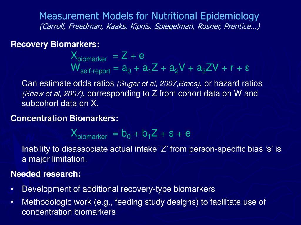 Measurement Models for Nutritional Epidemiology