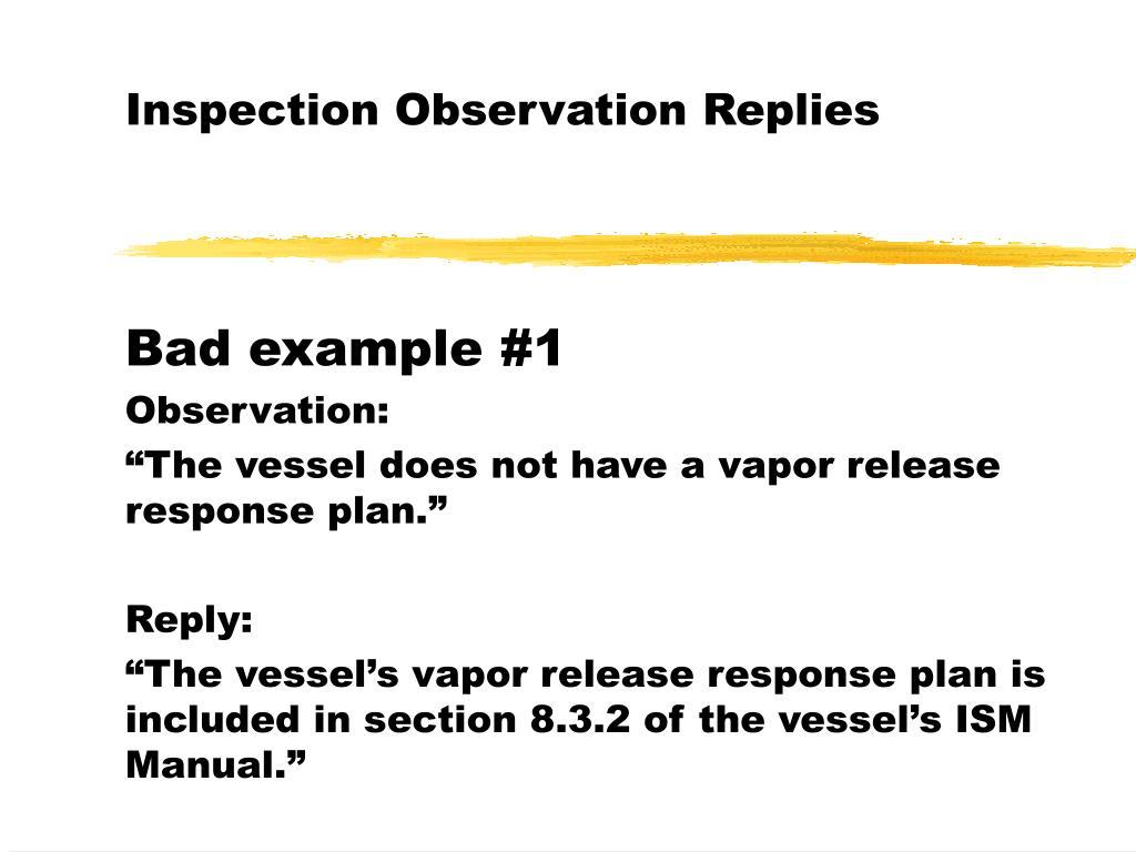 Inspection Observation Replies