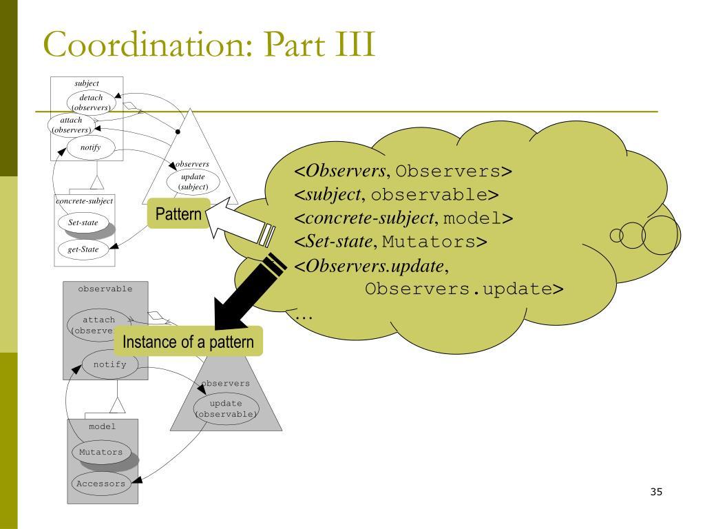 Coordination: Part III