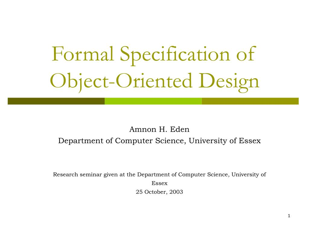 Formal Specification of