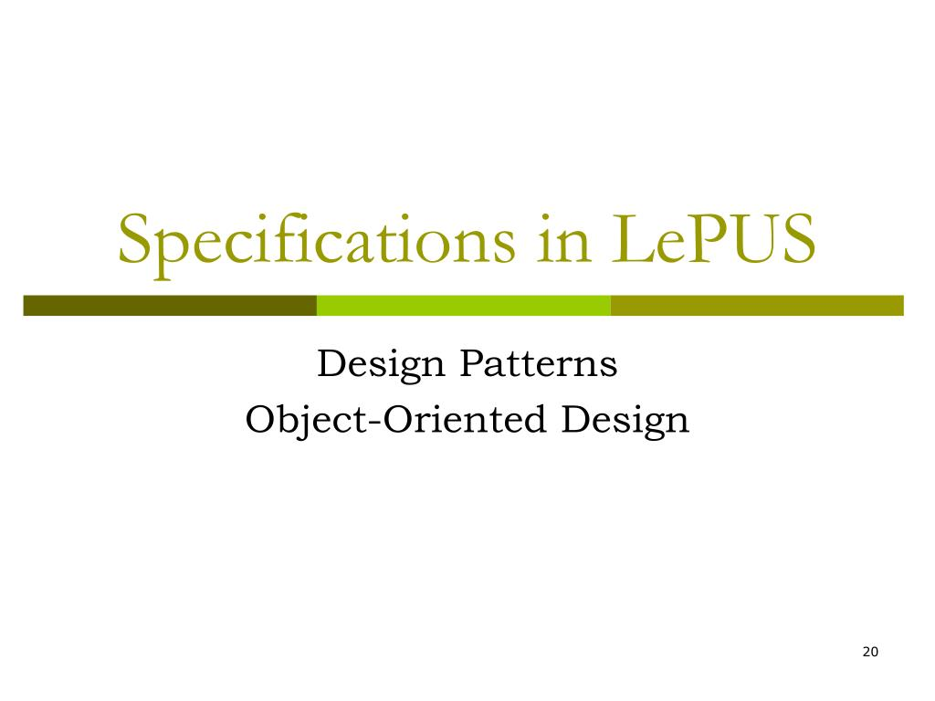 Specifications in LePUS