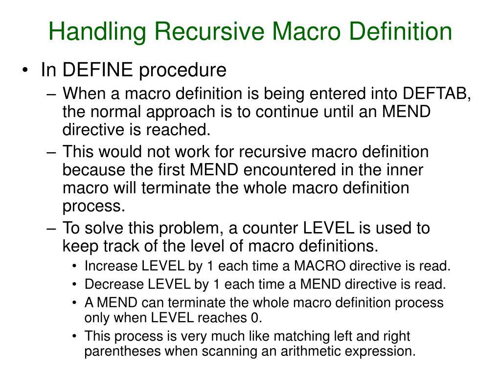 Handling Recursive Macro Definition
