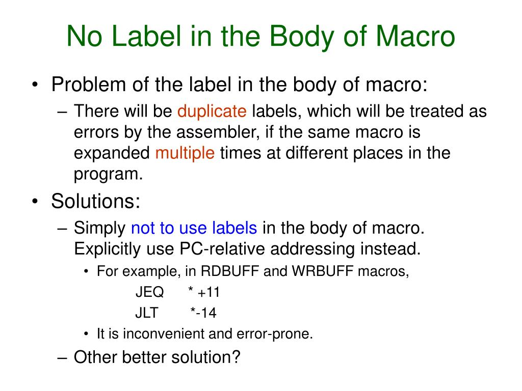 No Label in the Body of Macro