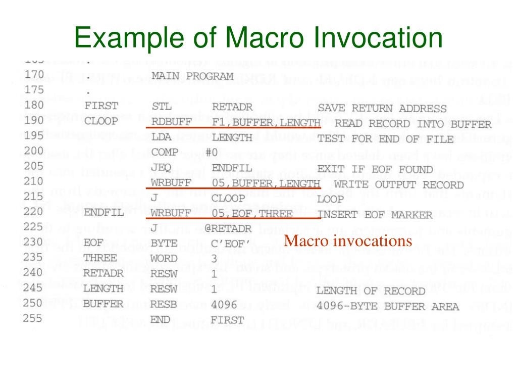 Example of Macro Invocation