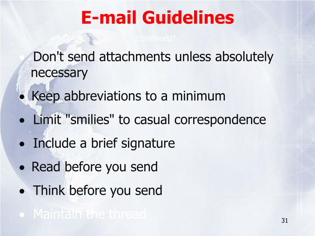 E-mail Guidelines