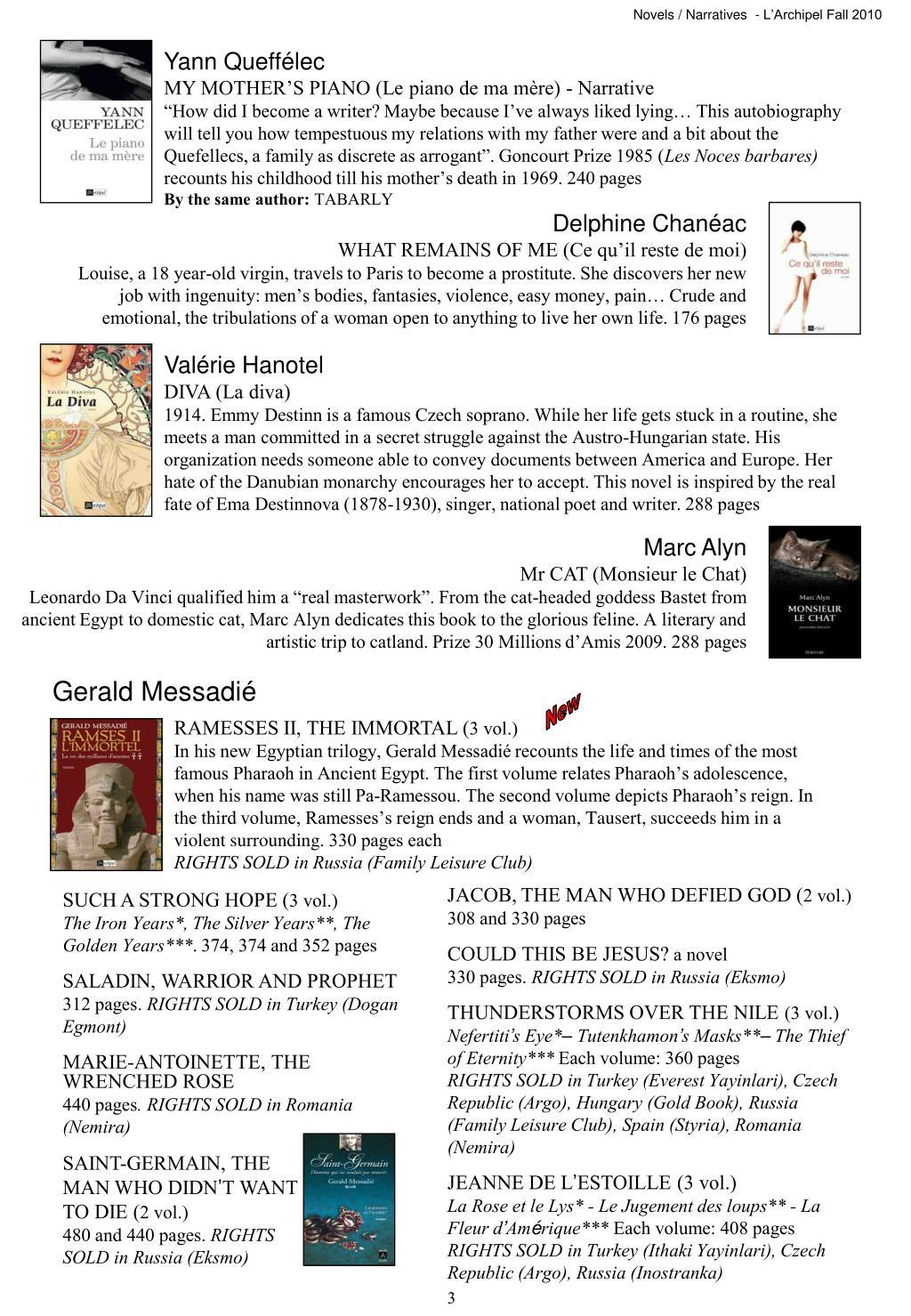 Novels / Narratives  - L'Archipel Fall 2010