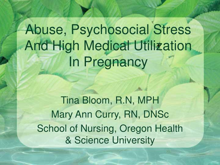 Abuse psychosocial stress and high medical utilization in pregnancy l.jpg