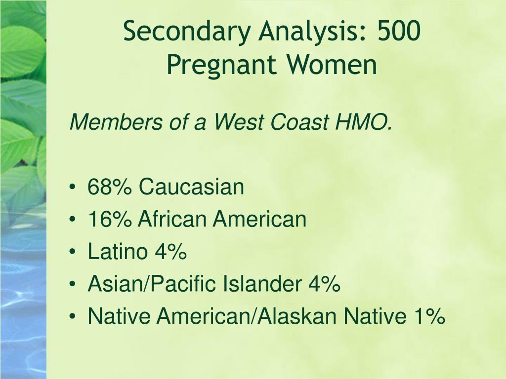 Secondary Analysis: 500 Pregnant Women