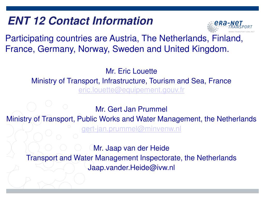 ENT 12 Contact Information