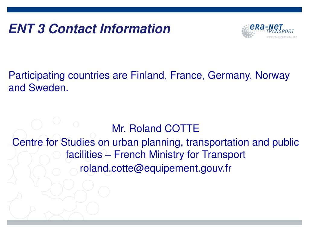 ENT 3 Contact Information