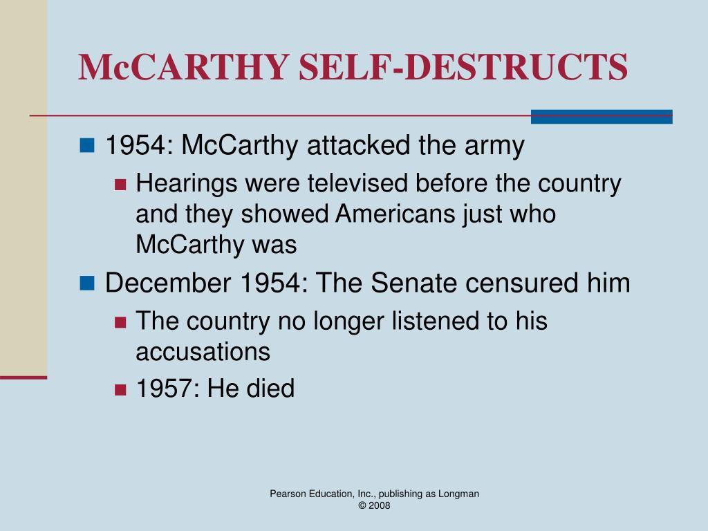 McCARTHY SELF-DESTRUCTS