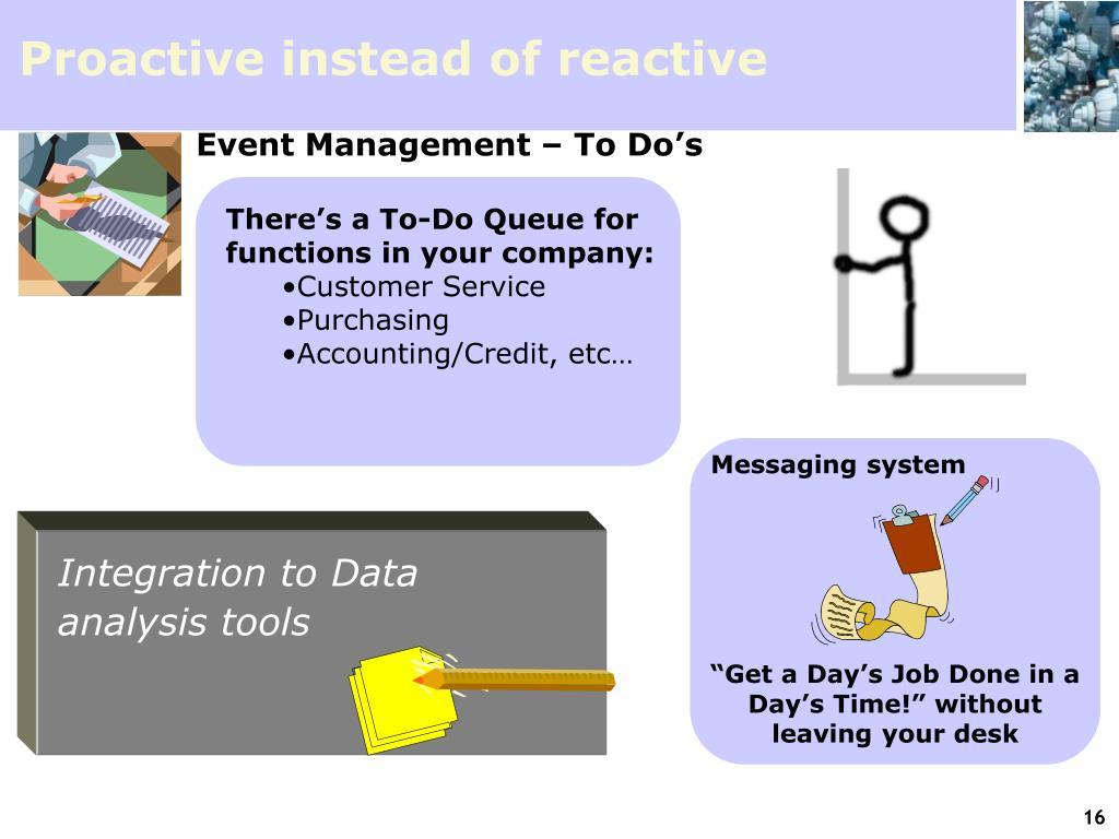 Proactive instead of reactive
