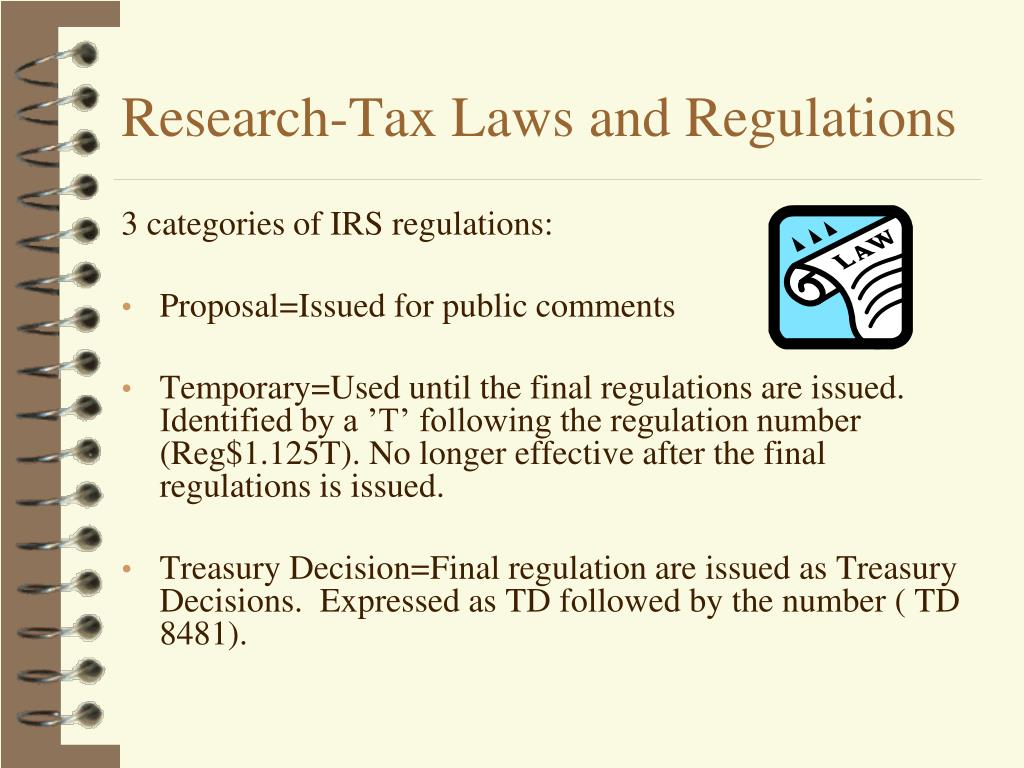 Research-Tax Laws and Regulations